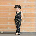 cheap Girls' Clothing Sets-Girls' Overall & Jumpsuit Summer Sleeveless Floral Black
