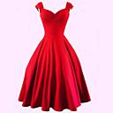 billige Dansetøj - ballroom-Dame Plusstørrelser Fest / I-byen-tøj Vintage Bomuld A-linje Kjole - Ensfarvet Knælang Kæreste Rød