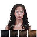 billige Lukning og frontside-Ekte hår Blonde Forside Parykk Krøllet Parykk 130% Naturlig hårlinje / Afroamerikansk parykk / 100 % håndknyttet Dame Kort / Medium / Lang Blondeparykker med menneskehår
