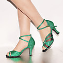 cheap Women's Sandals-Women's Latin Shoes Leatherette High Heel / Sandal Sparkling Glitter / Buckle / Lace-up Customized Heel Customizable Dance Shoes Green