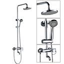 זול ברזים למקלחת-ברז למקלחת - עכשווי כרום מותקן על הקיר שסתום קרמי / Brass / שני חורי ידית אחת