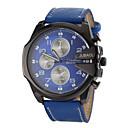 preiswerte Leder-JUBAOLI Herrn Militäruhr Armbanduhr Quartz Armbanduhren für den Alltag Leder Band Analog Charme Schwarz / Weiß / Blau - Schwarz Rot Blau