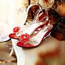 povoljno Ženske sandale-Žene Sandale Poluga pete Wedge Heel Peep Toe Guma Svjetleće tenisice Proljeće / Ljeto Bijela / Crvena / Plava