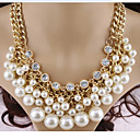 cheap Necklaces-Women's Pearl Layered Statement Necklace / Layered Necklace / Pearl Necklace - Pearl, Imitation Diamond Cross Ladies, Multi Layer White Necklace Jewelry For Party