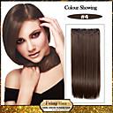baratos Sombras-5 clipes de longo clipe sintético marrom cabelo reto em extensões de cabelo para senhoras