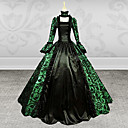 cheap Historical & Vintage Costumes-Victorian Medieval 18th Century Costume Women's Dress Party Costume Masquerade Ball Gown Green Vintage Cosplay Lace Satin Long Sleeve Poet Sleeve Square Neck Long Length Ball Gown Plus Size Customized