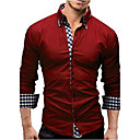 cheap Smartwatches-Men's Cotton Slim Shirt - Solid Colored Spread Collar / Long Sleeve