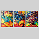 cheap Top Artists' Oil paitings-Oil Painting Hand Painted - Abstract European Style Modern Three Panels