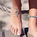 cheap Anklet-Turquoise Layered / Hollow Out Anklet Barefoot Sandals - Turquoise Drop Unique Design, Vintage, Party Screen Color For Party / Birthday / Gift / Women's