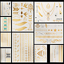 cheap Temporary Tattoos-Non Toxic / Pattern / Halloween Temporary Tattoos Flower Series / Jewelry Series hand / arm 10 pcs / Large Size / Lower Back / Waterproof / Metallic
