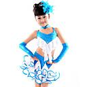 baratos Roupas Infantis de Dança-Dança Latina Roupa Espetáculo Algodão Poliéster Elastano Fru-Fru Blusa Saia Luvas Neckwear