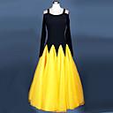 رخيصةأون ملابس رقص لاتيني-Ballroom Dance الفساتين للمرأة أداء نايلون كريب ثنيات كم طويل فستان
