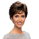 baratos Acessórios para Cabelos-Ondulado Corte Pixie Com Franjas Sem Touca Cabelo Humano perucas Parte lateral Curto 6/30 6/613 10/613 6 / 99J 30/613