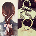 cheap Hair Accessories-South Korea's Aristocratic Wind Pearl Lace Bowknot Ribbon Bind Hair Band