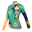 זול חולצות רכיבת אופניים-ILPALADINO בגדי ריקוד נשים שרוול ארוך חולצת ג'רסי לרכיבה ירוק אנימציה מידות גדולות אופנייים ג'רזי צמרות נושם ייבוש מהיר ספורט 100% פוליאסטר רכיבת הרים רכיבת כביש ביגוד / גמישות גבוהה