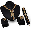 cheap Jewelry Sets-May Polly  Europe golden diamond Tassel Necklace Earrings Ring exaggerated Bracelet Set