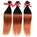 זול תוספות שיער אומברה-3 חבילות שיער מלזי ישר / ישר משיי שיער אנושי Ombre Ombre שוזרת שיער אנושי תוספות שיער אדם