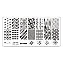 billige Negle Sticker-5 pcs Negle Smykker Stempling plade Negle kunst Manicure Pedicure Daglig Blomst / Mode / Stempling Plate / Negle smykker / Metal