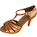 cheap Latin Shoes-Women's Latin Shoes / Salsa Shoes Satin / Silk Sandal Customized Heel Customizable Dance Shoes Beige / Red / Tan / Indoor / Performance / Practice / Professional