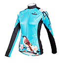 cheap Cycling Jerseys-ILPALADINO Women's Long Sleeve Cycling Jersey - Bule / Black Floral / Botanical Bike Jersey Top, Breathable Quick Dry, Spring Summer Fall, 100% Polyester / High Elasticity / Plus Size