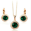cheap Jewelry Sets-Crystal Jewelry Set - Cubic Zirconia Party, Work, Fashion Include Gold / Green For Party / Special Occasion / Anniversary / Earrings / Necklace