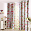 cheap Curtains Drapes-Rod Pocket Grommet Top Tab Top Double Pleat Pencil Pleat Two Panels Curtain Modern European Mediterranean Neoclassical Country, Print &