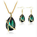 cheap Jewelry Sets-Women's Crystal / Synthetic Emerald Jewelry Set - Crystal, Rose Gold Plated Teardrop Party, Elegant, Bridal Include Drop Earrings / Pendant Necklace White / Green / Blue For Party / Special Occasion