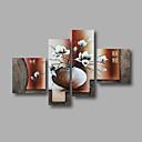 halpa Abstraktit maalaukset-Hang-Painted öljymaalaus Maalattu - Kukkakuvio / Kasvitiede Moderni Kangas