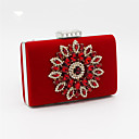 cheap Clutches & Evening Bags-Women's Bags Satin Evening Bag Beading / Crystal / Rhinestone Black / Red