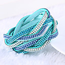 cheap Necklaces-Women's Crystal Layered Wrap Bracelet - Leather, Rhinestone, Imitation Diamond Luxury, Unique Design, Fashion Bracelet Green / Blue / Light Blue For Christmas Gifts / Wedding / Party