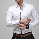 זול בלייזרים וחליפות לגברים-אנשיו של חולצה חלק כותנה / פוליאסטר שרוול ארוך יום יומי / מידות גדולות כחול / ורוד / לבן / אפור