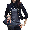 cheap Rings-Women's Daily / Work Basic Spring &  Fall Short Blazer, Solid Colored Stand Long Sleeve Cotton / Polyester White / Black L / XL / XXL