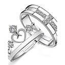 preiswerte Modische Halsketten-Paar Eheringe - Sterling Silber Modisch Verstellbar Silber Für Hochzeit Party Alltag / 2pcs / Zirkon