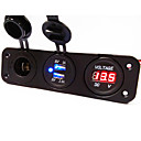 cheap Fishing Light-3 Hole Panel Power Socket+Dual USB Car Charger Socket+Voltmeter