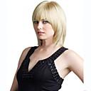 preiswerte Synthetische Perücken ohne Kappe-Synthetische Perücken Glatt Blond Mit Pony Synthetische Haare Blond Perücke Damen Medium Kappenlos