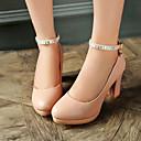 baratos Sapatos de Salto-Mulheres Sapatos Courino Primavera / Verão / Outono Salto Robusto / Plataforma Preto / Rosa claro / Amêndoa / Social