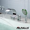 billige Bakeformer-badevaskkran - hånddusj inkludert kromdekkmontert enkelthåndtak tre hull / messingbadkraner