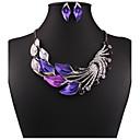 abordables Juego de Joyas-Mujer Conjunto de joyas Juego de Joyas / Pendientes colgantes / Collar con perlas - Zirconia Cúbica, Brillante, Chapado en Oro Flor