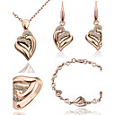 cheap Jewelry Sets-Women's Crystal Jewelry Set - Crystal Heart Include Silver / Golden For Wedding / Party / Birthday / Rings / Earrings / Necklace / Bracelets & Bangles