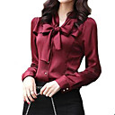 cheap Ice Skating Dresses , Pants & Jackets-Women's Work Basic Shirt - Solid Colored Bow V Neck