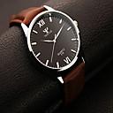 זול שעוני צמיד-בגדי ריקוד גברים שעון יד שעונים יום יומיים עור להקה קסם שחור / חום