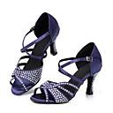 preiswerte Latein Schuhe-Damen Schuhe für den lateinamerikanischen Tanz / Salsa Tanzschuhe / Samba Tanzschuhe Satin Sandalen / Absätze Strass / Paillette /