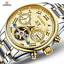 cheap Car DVD Players-Carnival Men's Skeleton Watch Hollow Engraving Stainless Steel Band Charm White / Gold / Automatic self-winding