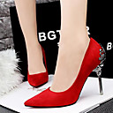 olcso Női magassarkú cipők-Női Cipő Bőrutánzat Tavasz Nyár Kényelmes Tűsarok mert Ruha Party és Estélyi Piros Zöld Rózsaszín Aranyozott Khakizöld