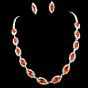 cheap Necklaces-Women's Rhinestone Jewelry Set - Others Red
