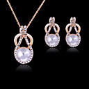 cheap Jewelry Sets-Pearl Jewelry Set - Rose Gold, Pearl, Rhinestone Party, Fashion Include White For Party / Special Occasion / Anniversary / Imitation Diamond / Earrings / Necklace / Rose Gold Plated
