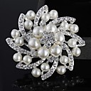 cheap Brooches-Women's Brooches - Pearl, Imitation Pearl, Silver Plated Flower Luxury, Double-layer, Fashion Brooch Silver For Wedding / Party / Casual / Imitation Diamond