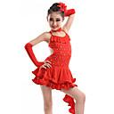 preiswerte Kindertanzkleidung-Latein-Tanz Kleider Leistung Elasthan / Pailletten / Milchfieber Kristalle / Strass Kleid / Handschuhe / Neckwear / Latintanz