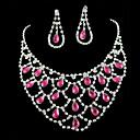 baratos Braceletes-Mulheres Cristal Conjunto de jóias - Fashion Incluir Prata Para Casamento / Festa / Brincos / Colares / Strass