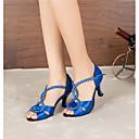 baratos Sapatos de Jazz-Mulheres Sapatos de Dança Latina / Sapatos de Salsa Cetim Sandália / Salto Pedrarias / Lantejoulas / Presilha Salto Personalizado Personalizável Sapatos de Dança Preto / Azul / Interior / Espetáculo